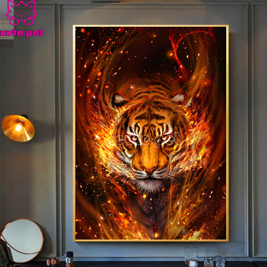 Full Square Drill Flame tiger DIY Diamond Painting Crystal Embroidery Cross Stitch Needlework Mosaic Painting animal Decor Gift