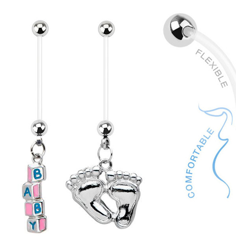 3pc Value Pack Pregnancy Belly Rings Bioflex Pregnant Navel Naval Gift Set
