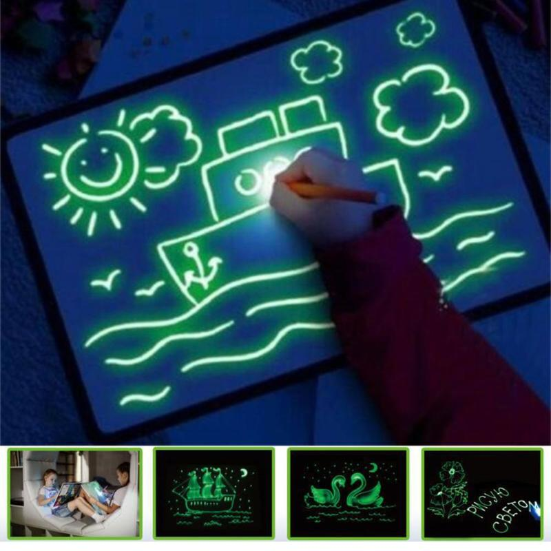 3D Draw With Night Light In Dark Children Toys Writing Magic Drawing Board Set Educational English Language Noctilucent Kids