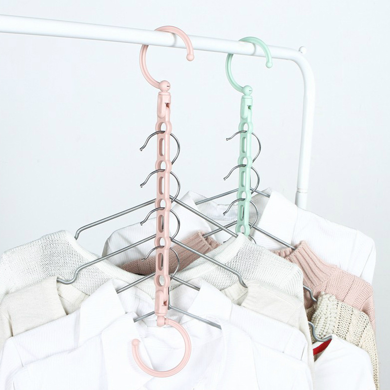 Space Saving Coat Hanger Cabide Windproof Clothes Hanger Folding Rotating Hook Closet Storage Organizer Hangers  Home Tools