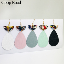 Cpop New Water Drop Genuine Leather Earrings Half Month Pendant Acrylic Fashion Jewelry Women Accessories Gift Hot Sale