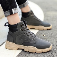 2019 Winter Waterproof Leather For Men Shoes Motorcycle Boots Man Shose Outdoor Cowboy Boot Male Booties Black High Top Sneakers