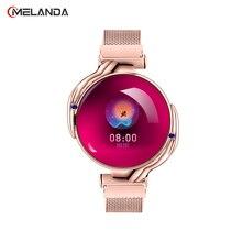 Moda feminina relógio inteligente à prova dwaterproof água freqüência cardíaca monitor de pressão arterial smartwatch presente para senhoras relógio pulseira