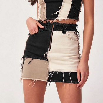 Patchwork Cotton Denim High Waist A-Line Skirts With Pockets Autumn Streetwear Color Block Zipper Women Sexy Mini Skirt drawstring waist color block letter skirt