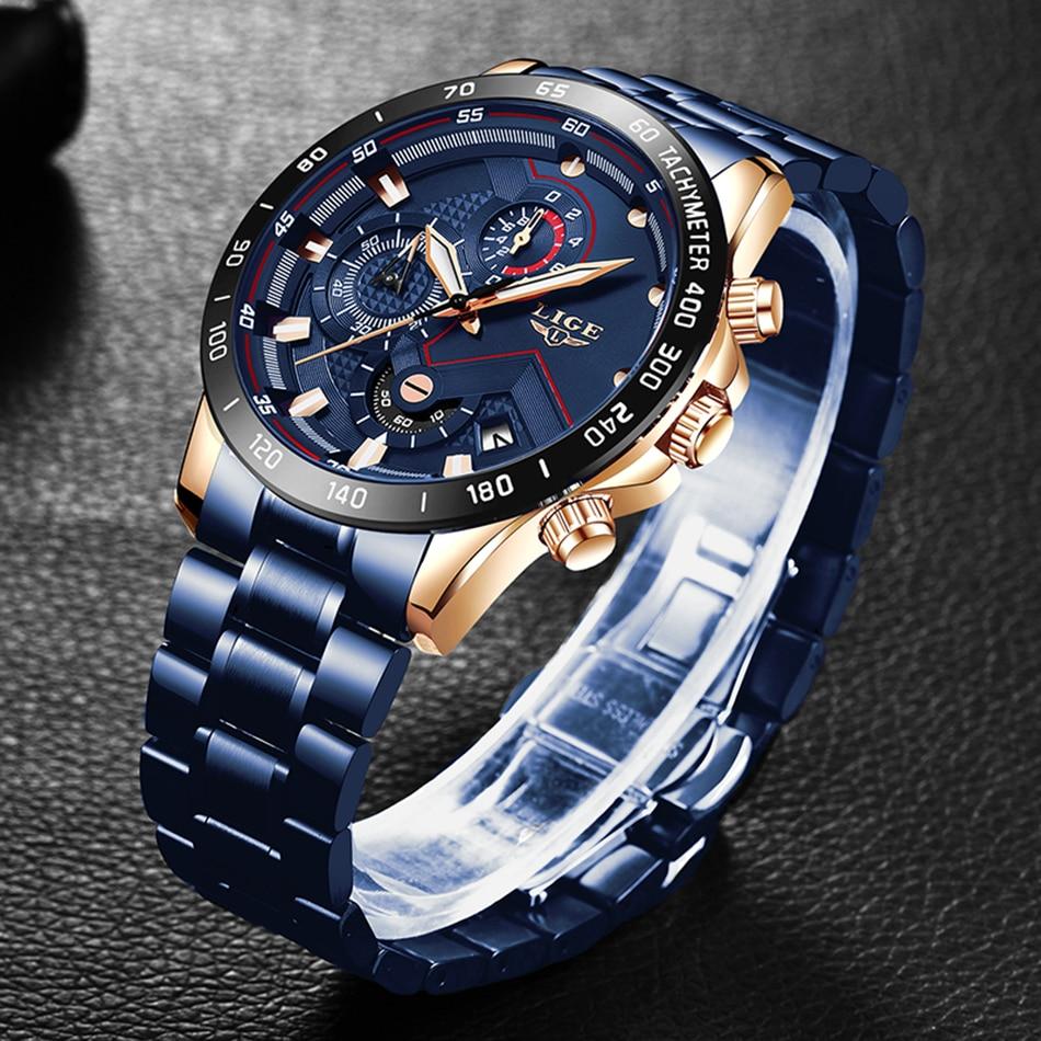 H9b24bed3a4fe4563aea5e68c47e641803 LIGE Men Watches Top Brand Luxury Stainless Steel Blue Waterproof Quartz Watch Men Fashion Chronograph Male Sport Military Watch