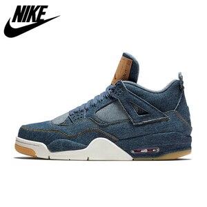 Zapatillas deportivas Nike Air Jordan 4 Denim AJ4 transpirables para hombre, recién llegadas, auténticas zapatillas de baloncesto
