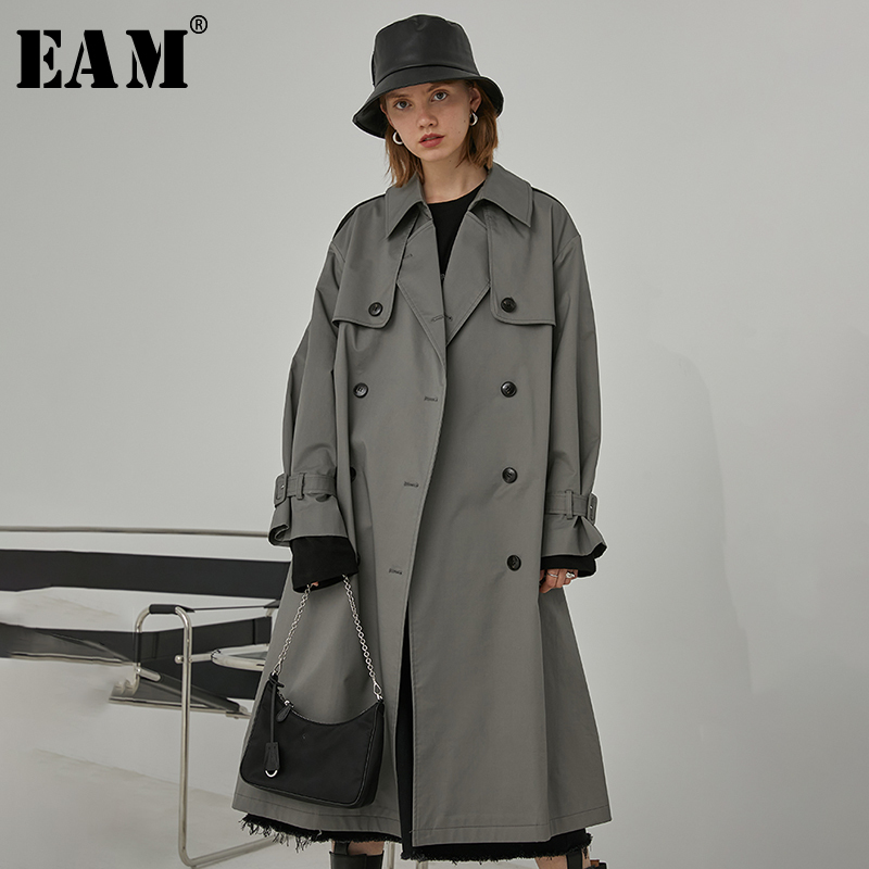 [EAM] Women Gray Brief Double Breasted Big Size Trench New Lapel Long Sleeve Loose Fit Windbreaker Fashion Spring 2020 1R398