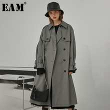 [EAM] Women gray brief Double Breasted big size Trench New Lapel Long Sleeve Loo