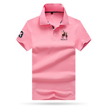 Aoliwen brand men Summer polos para hombre Pink polo shirt men breathable and quick-drying quality fabric men polo short shirts(China)