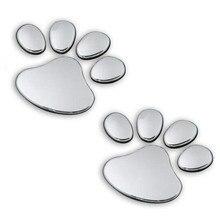 2 pcs 자동차 스티커 멋진 디자인 발 3d 동물 개 고양이 곰 발 인쇄 발자국 전사 자동차 스티커 실버 골드 자동차 액세서리