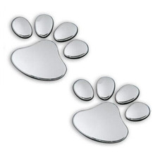 2PCS Car Sticker Cool Design Paw 3D Animal Dog Cat Bear Foot Prints Footprint Decal Car Stickers Silver Gold  Auto Accessories