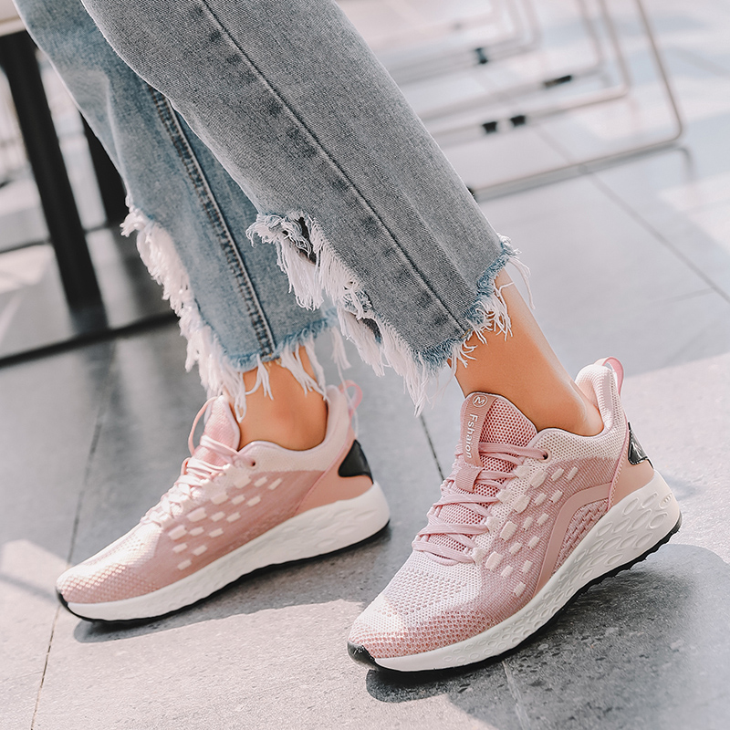 New Style Light Women Running Shoes Lace Up Athletic Shoes Outdoor Walking Cushioning Sport Jogging Shoes Comfortable Sneakers