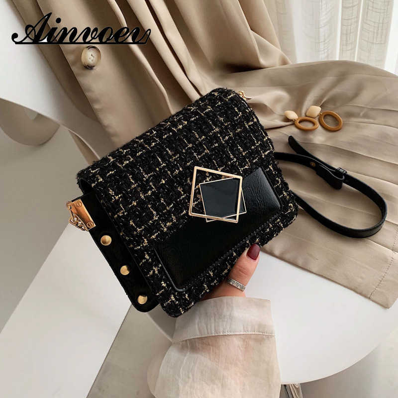 Ainvoev Autumn Winter New Woolen Small Bag Female 2019 New Wild Messenger Bag Chain Bag Fashion Small Square Bag Shoulder bag