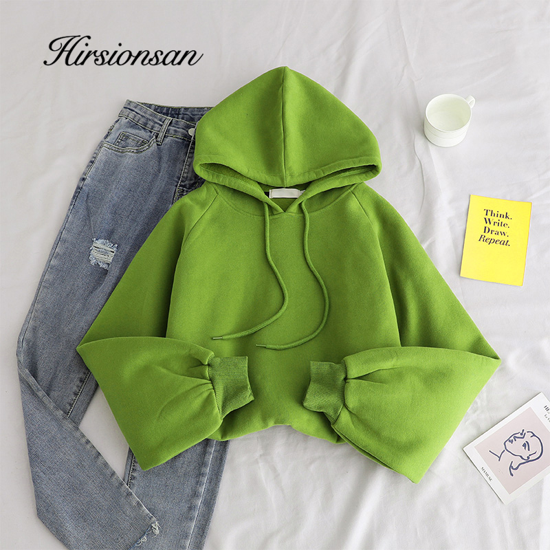 Hirsionsan Yellow Cotton Women Hoodies Harajuku Solid Color Oversized Full Sweatshirt Streetwear Cool Casual Tracksuit Clothes