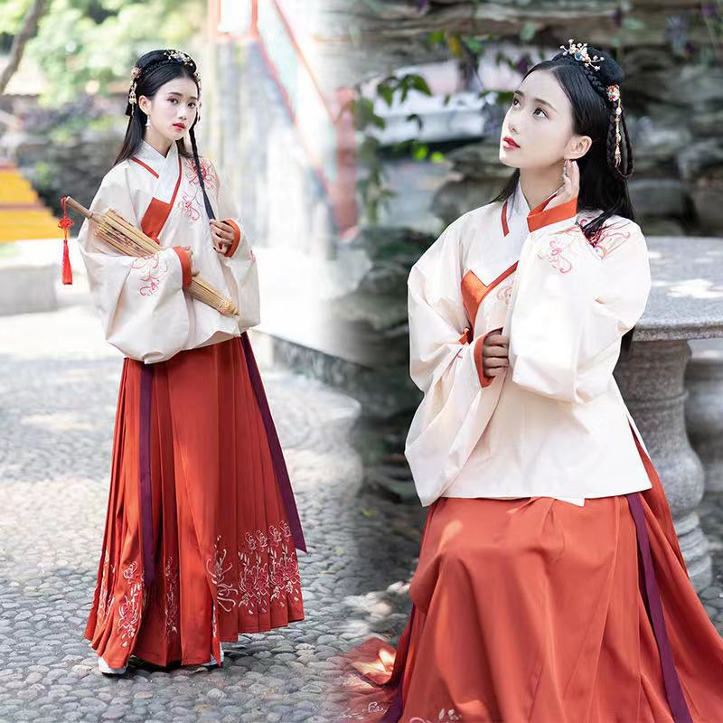 Red Hanfu Chinese Style Ancient Traditional Folk Dance Stage Performance Clothing Retro Singers Princess Fairy Dress