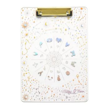 Creative Starry Sky A4 Clipboard Acrylic File Folder Writing Pad Document Holder School Office Supplies Stationery ten win new clipboard office plastic blue black solid a4 size document clipboard school supplies clip board with pen holder