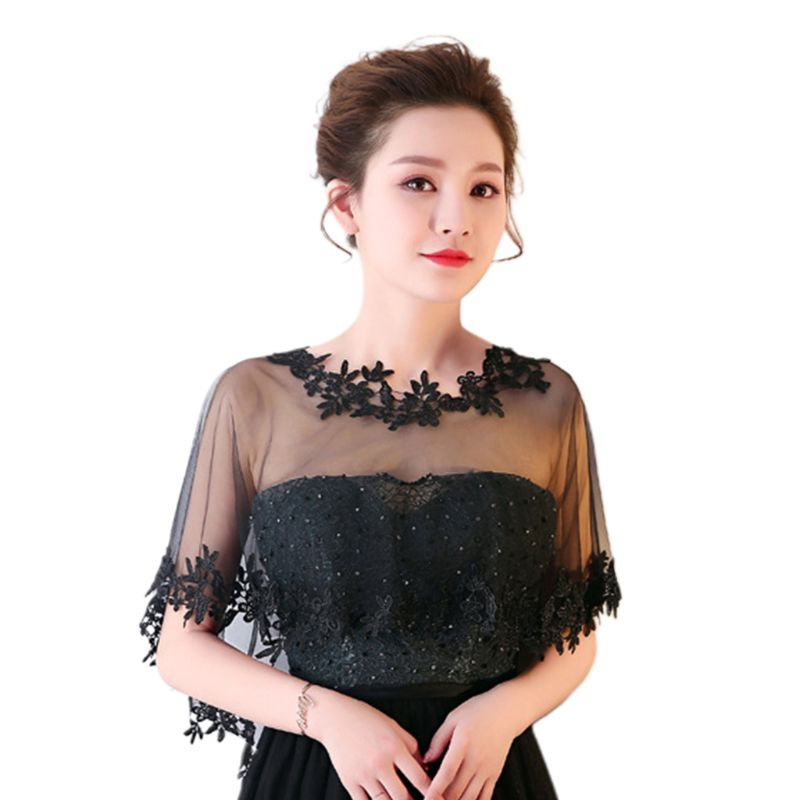 Women Single Layer Sheer High Low Wedding Shawl Wrap Floral Lace Applique Splicing Trim Bridal Evening Cape Shrug Capelet Bolero