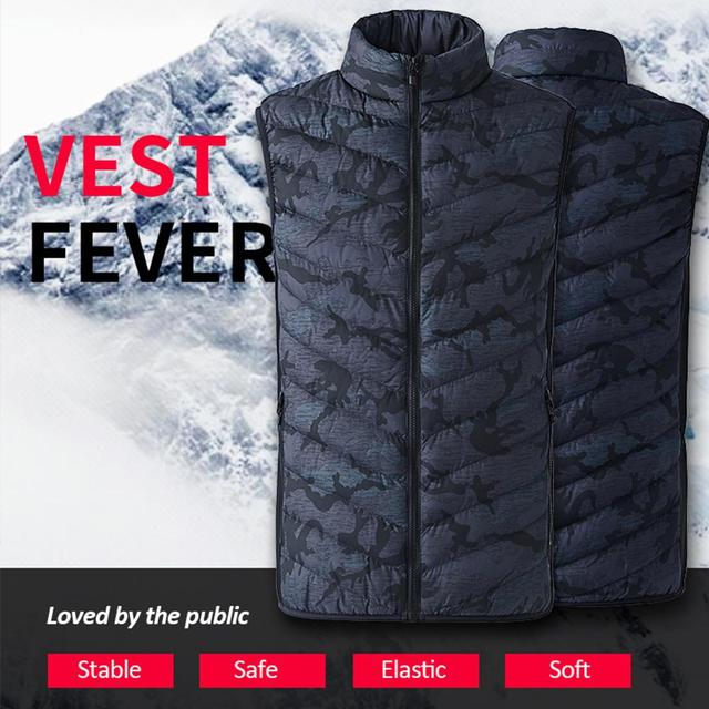 Winter Smart Self-heating Vest Cotton-padded Clothes Solid Color Sleeveless Vest Men's USB Charging Plus Velvet Jacket Men's 2