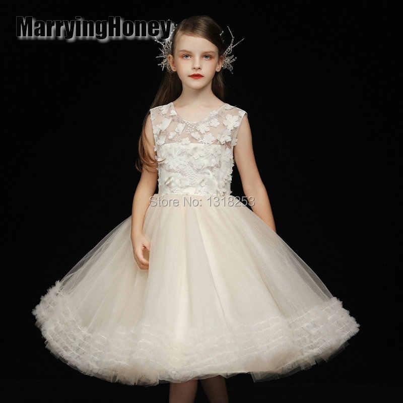 Tout nouveau pétales de fleurs robes filles demoiselle d'honneur vêtements robe princesse filles Pageant robe de bal première Communion robe de bal