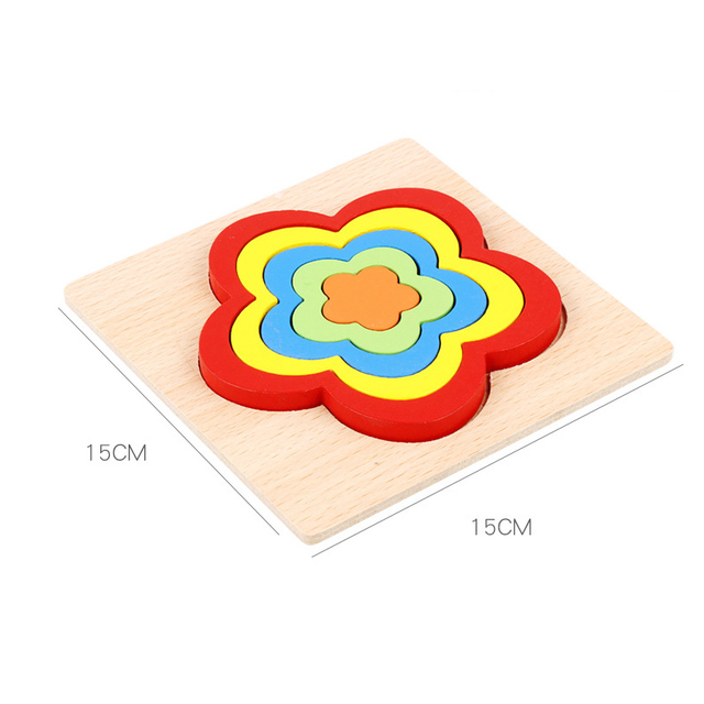High Quality Colorful 3D Wooden Geometric Shapes Cognition Puzzles Board Math Game Montessori Learning Educational For Kids Toys 3