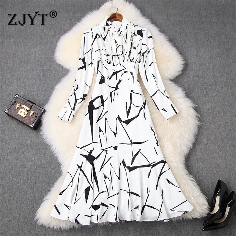 2020 Woman Spring Runway Dress Fashion Clothes Ruffle Neck Long Sleeve Abstract Print Mid Calf Trumpet Dress Female Vestidos