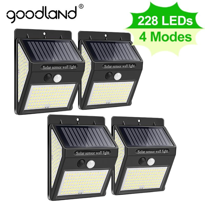 Goodland 228 144 LED Solar Light Outdoor Solar Lamp with Motion Sensor Solar Powered Sunlight Spotlights for Garden Decoration