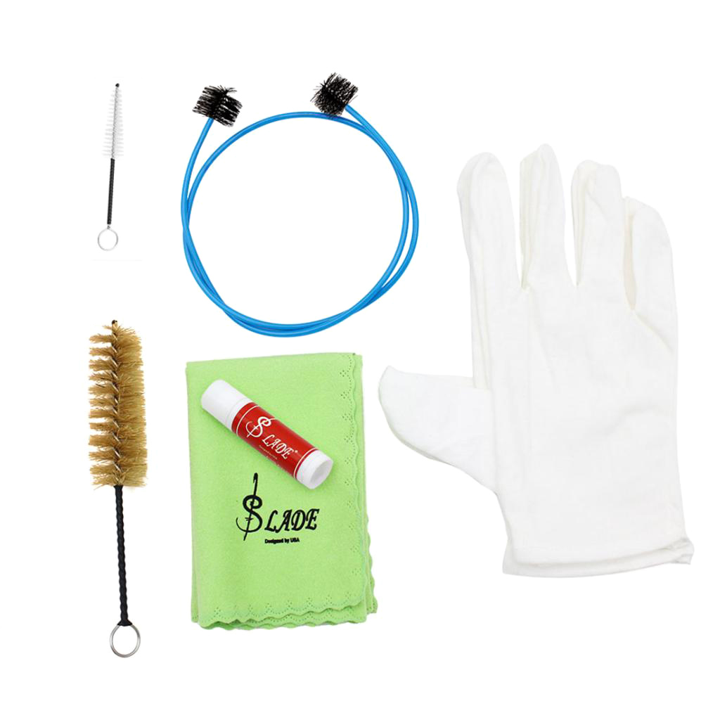 6 In 1 Trumpet Trombone Horn Tuba Maintenance Cleaning Care Tool Kit Brass Instrument Accessory