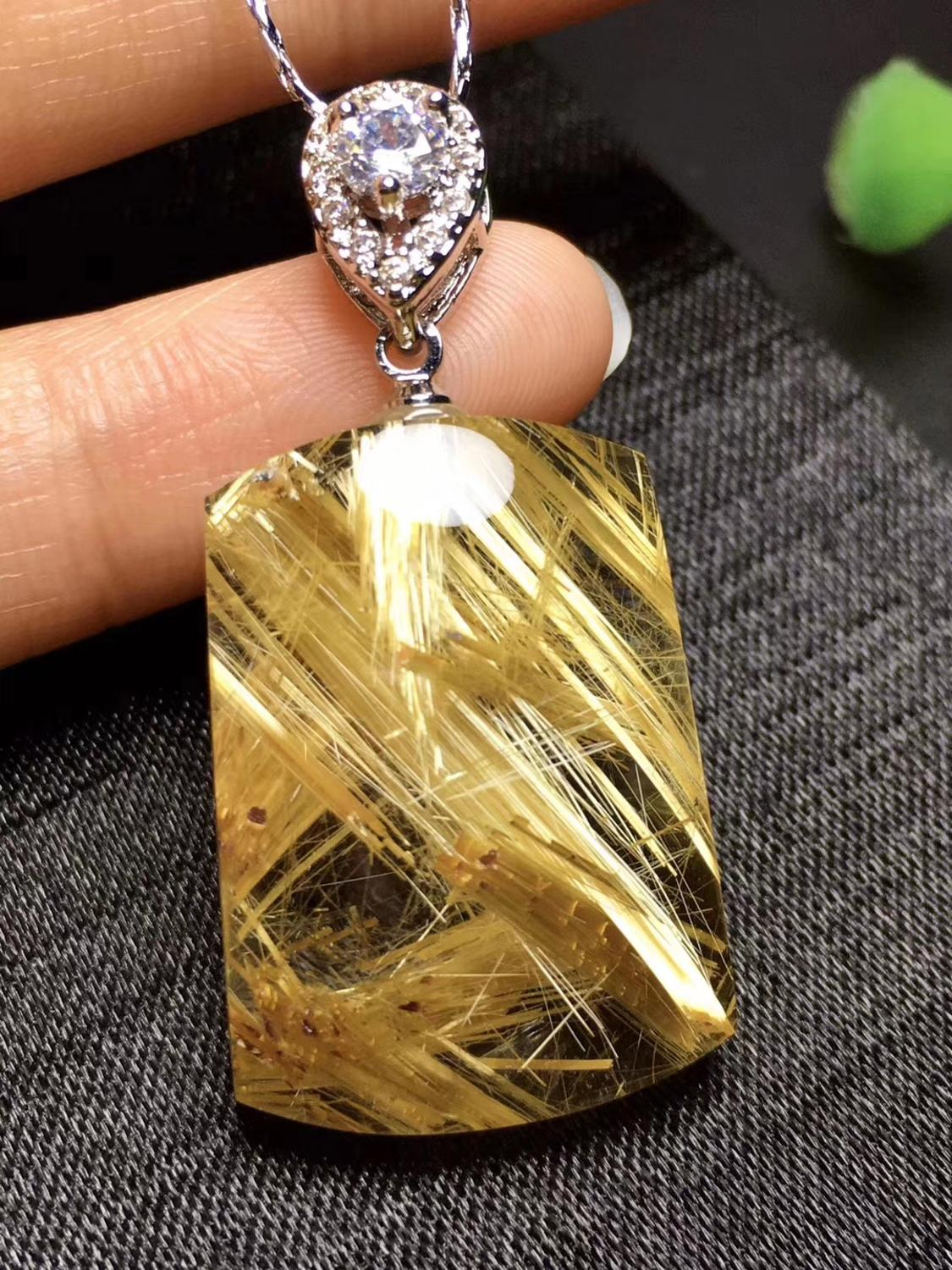 Top Natural Gold Rutilated Quartz Pendant 26x19x8mm Rectangle Gemstone Party Gift Crystal AAAAA Stone Pendant
