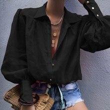 Fall Lantern Sleeve Elegant Sexy Blouse Solid Women Shirt Turn-Down Collar Casual Tops Office Workwear Streetwear Blusas