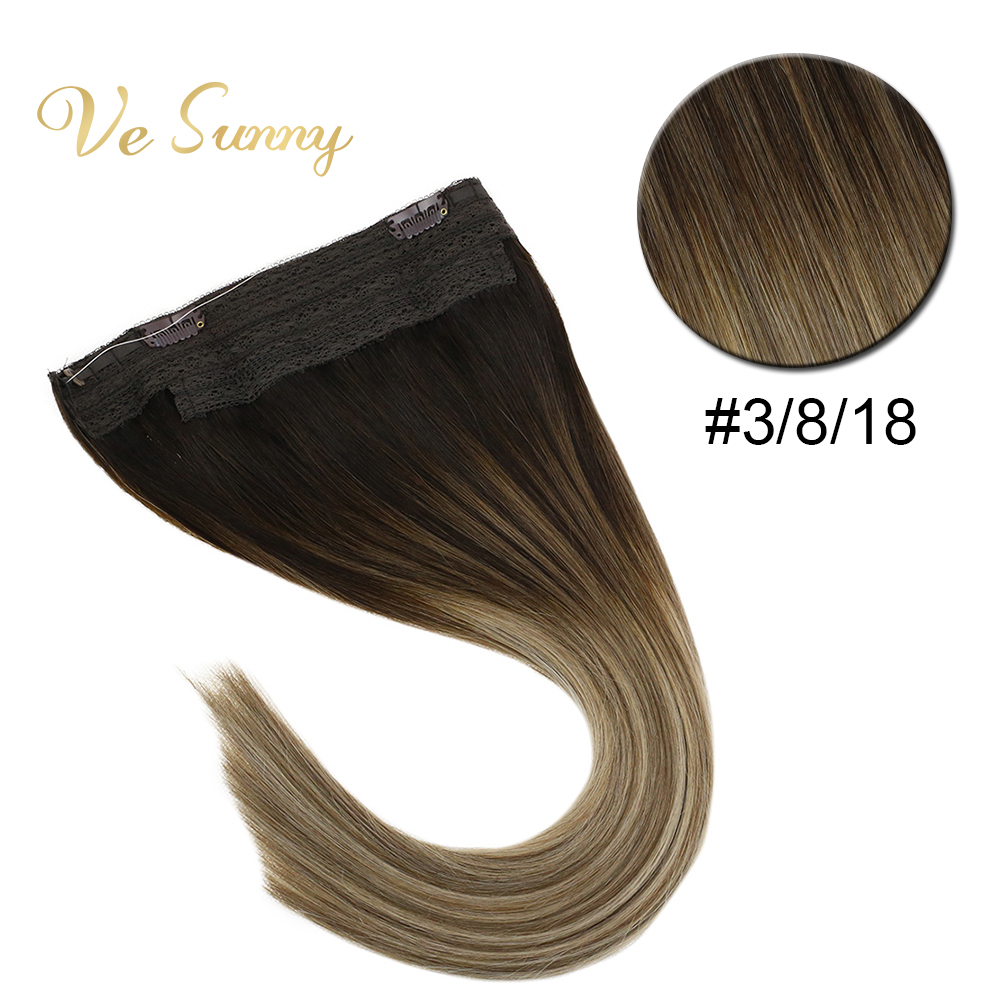 VeSunny Invisible Halo Hair Extensions Human Hair Flip Wire with Clips on Balayage Ombre Brown Highlights Ash Blonde #3/8/18