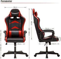 Игровой стул с высокой спинкой подушка для поясницы и головы, регулируемая по высоте 360 ° вращающийся и фиксированный подлокотник