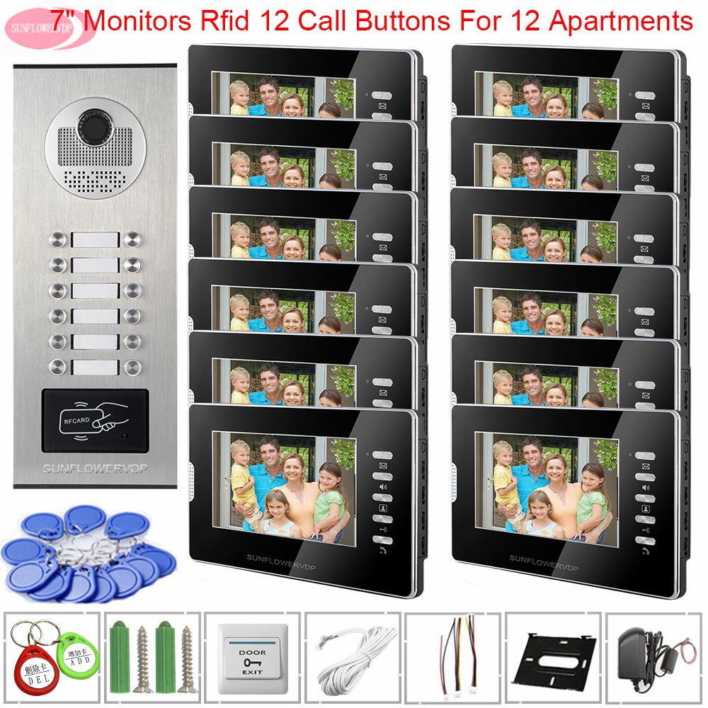 For 12 Apartments Door Station For Video Intercom Video Doorbell With White Or Black Monitor Access Control 7 Inch Home Intercom