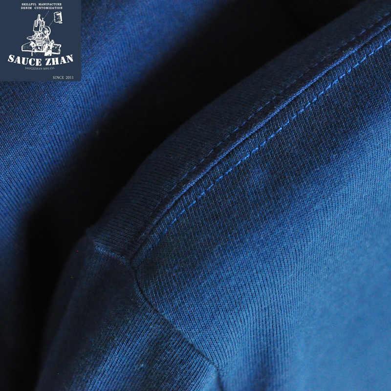 SauceZhanPlant, camiseta de tinción índigo para hombres y mujeres, camiseta completa de otoño e invierno para hombres, camiseta sólida de algodón con cuello redondo informal