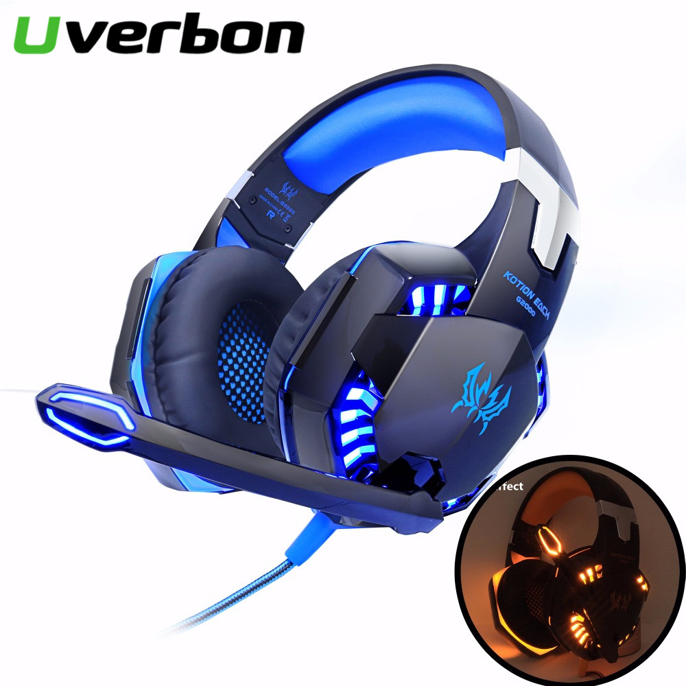 <font><b>G2000</b></font> Wired Gamer Headset Computer Stereo Gaming Headphones Deep Bass Game Earphone Headset with Mic LED Light for PC Gamer image