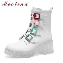Meotina Women Ankle Boots Shoes Genuine Leather Platform High Heel Short Boots Buckle Block Heels Ladies Boots Autumn White 40