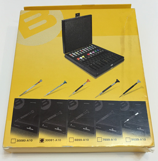 BERGEON 30081 A10 플라스틱 헤드 스크루 드라이버 시계 수리 10 조각 나무 상자