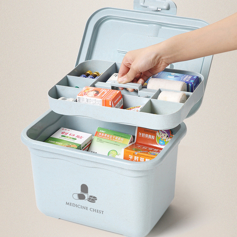Family First Aid Box Emergency Kits Case Portable Medical Wound Treatment Pills Bandages Storage Box For Travel Home Car