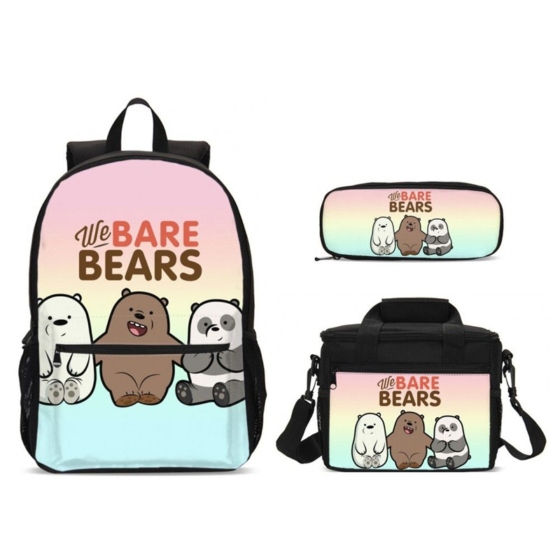 Fashion We Are Bears Print School Bags Set For Teenager Girls Backpack Schoolbags Laptop Backpack Children Bookbag Food Package
