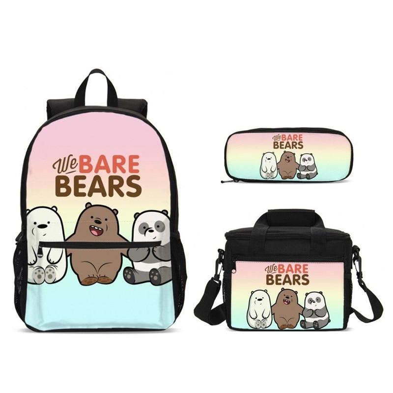 Mode nous sommes ours imprimer sacs d'école ensemble pour adolescent filles sac à dos cartables sac à dos pour ordinateur portable enfants Bookbag paquet de nourriture