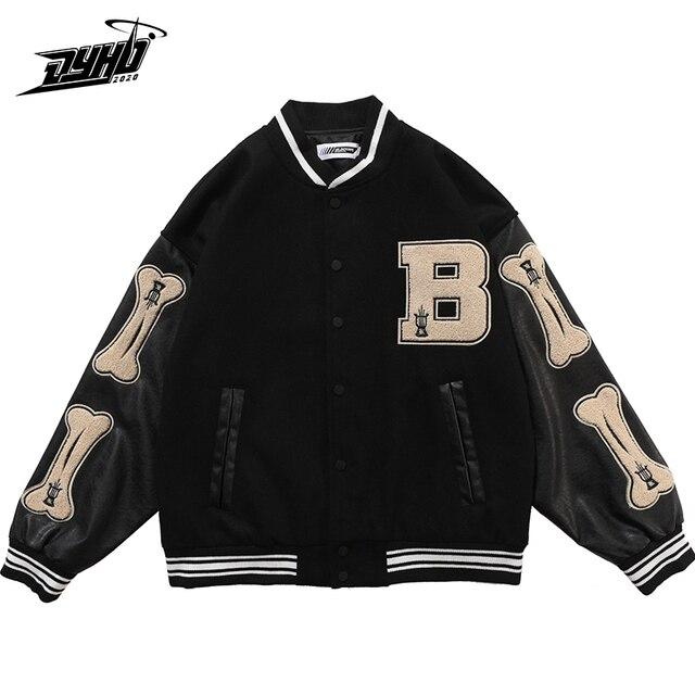 Hip Hop Furry Bone Patchwork Color Block College Jackets Mens Harajuku Casual Bomber Varsity Jacket Women Baseball Coats Unisex 3