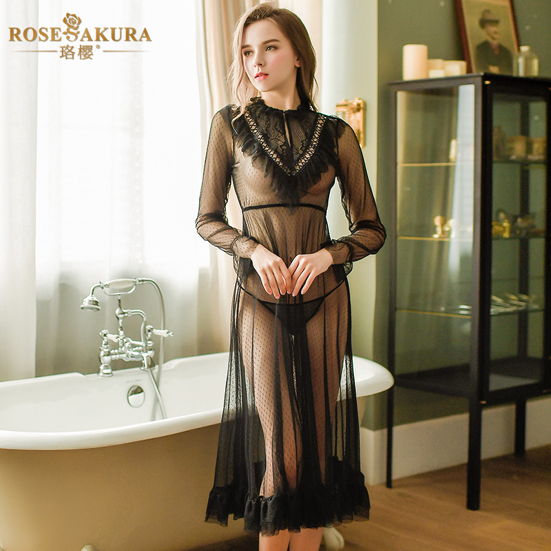 High-end Sexy Lingerie Beautiful See-through Gown Lace Polka Dot Mesh Night Gown Sexy Round Neck Lotus Leaf Sexy Dress Women Hot