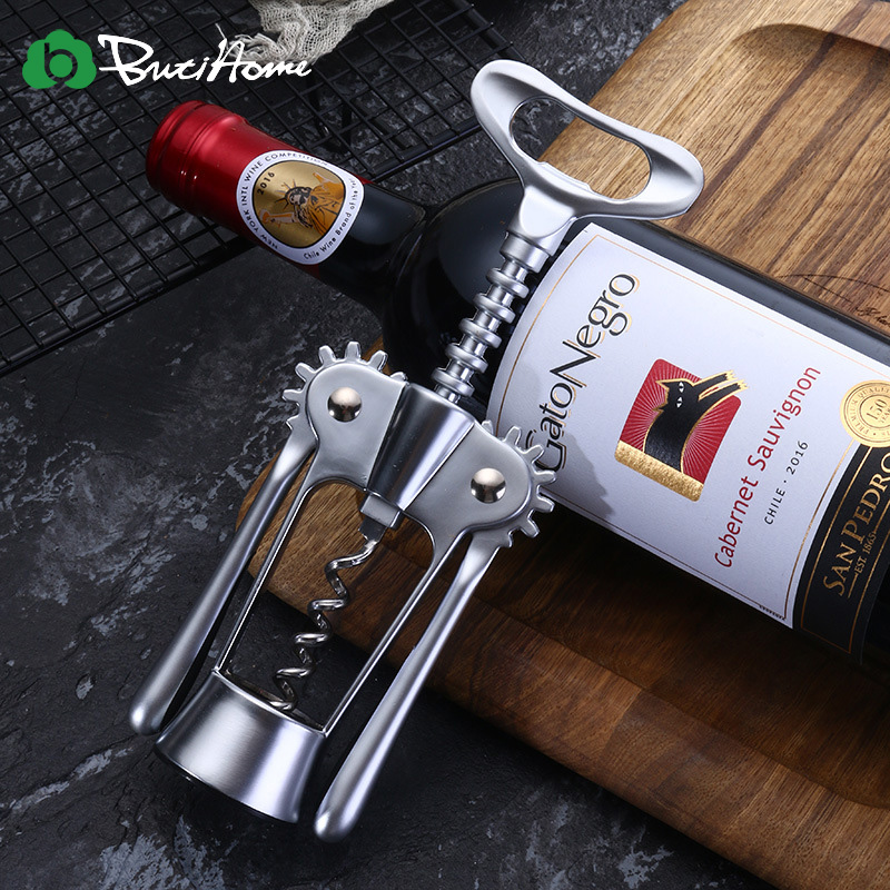 1pc Kirsite Portable Stainless Steel Red Wine Opener Wing Type Waiter Metal Wine Corkscrew Bottle Handle Openers Corkscrews