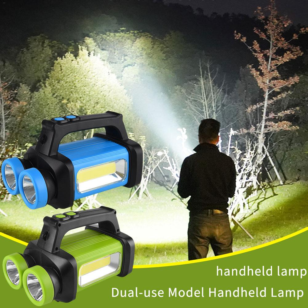 Glare Flashlight LED Search Light Double Head Mine Lamp Portable COB Work Light Usb Camping Emergency Lighting Signal Light