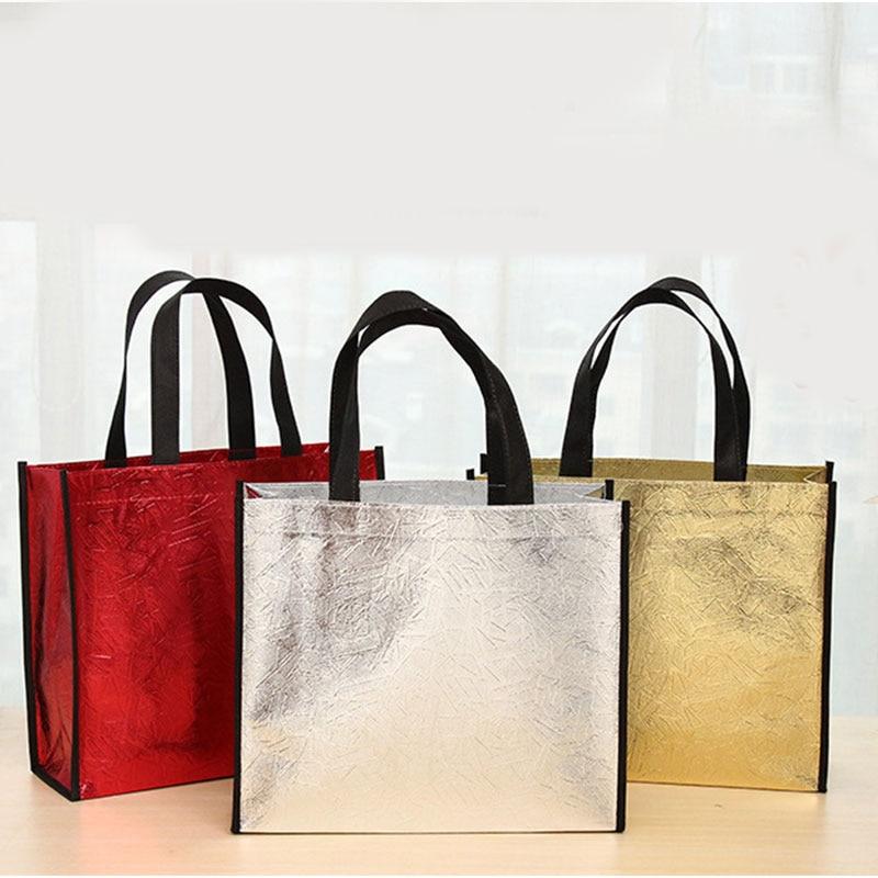 Shiny Laser Foldable Shopping Bag Fashion Non-woven Fabric Reusable Shopping Bag Women Waterproof Shoulder Bags Grocery Bag Hot