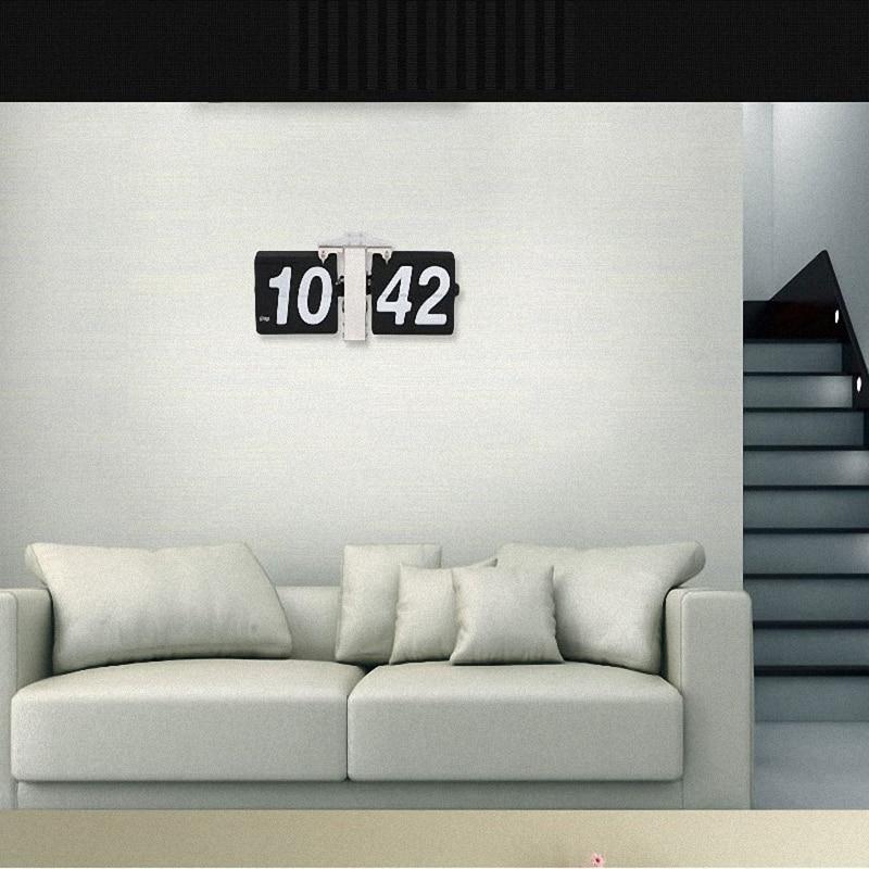 Wonderful European Retro Table Clock Mechanical Automatic Flip Clock Living Room Large DIY Home Wall Clock 1