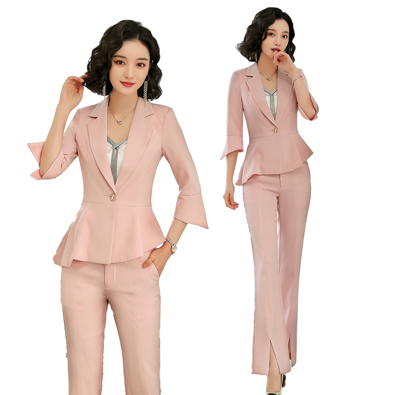 Ladies Pink Blazer Women Business Suits Formal Office Suits Work Wear Jacket And Pant Set Womens Suits Set 2 Pieces Blazer Set