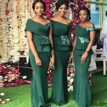 Dark Green Appliques Bridesmaid Dresses for Women Off Shoulder Ruffles Mermaid Wedding Party Dresses Satin Long Formal Gowns