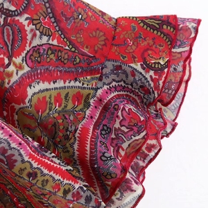 Женская шифоновая блузка в винтажном стиле с v-образным вырезом, каскадными оборками и цветочным принтом пейсли, женская шифоновая блузка с орехами кешью, шикарные рубашки, женские топы LS4328