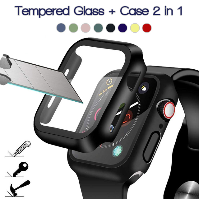 360 full Screen protector Bumper Frame matte hard Case for Apple watch 6/SE/5/4/3/2/1 cover Tempered glass film for iwatch 4/5 1