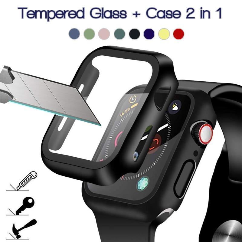 360 Full Screen Protector Bumper Frame Matte Hard Case Voor Apple Horloge 6/Se/5/4/3/2/1 Cover Gehard Glas Film Voor Iwatch 4/5
